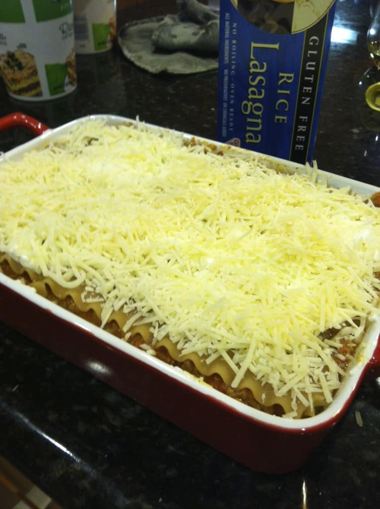 gluten-free lasagna, ready to go into the oven