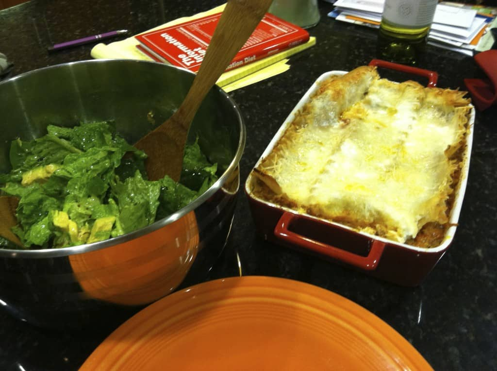 gluten-free lasagna and side salad for dinner