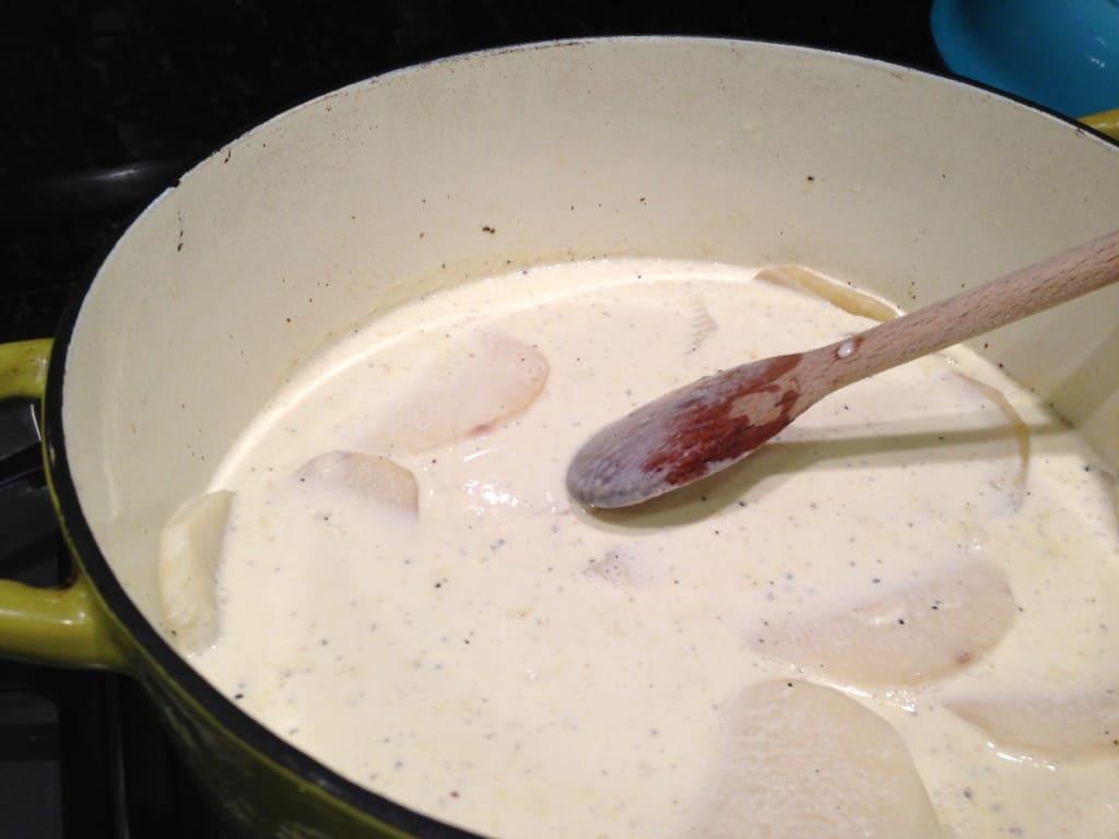 heating the cream and potatoes