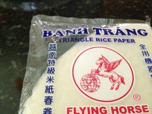 Triangle-shaped rice paper wrappers.