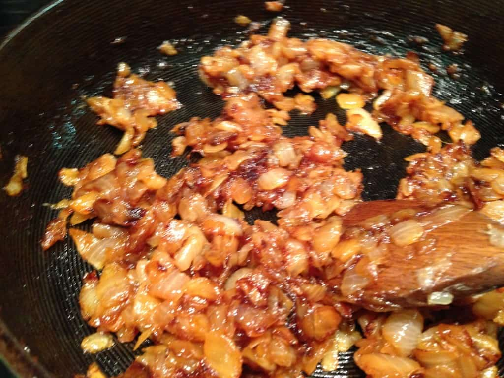 Onions cooking down for dip