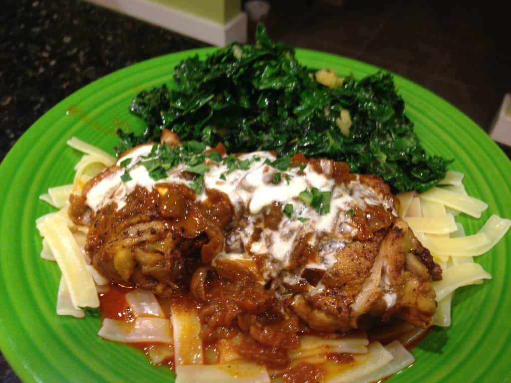 Chicken Paprikash over gluten-free noodles. On the side is a kale salad.