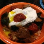 Gluten-free gochujang over rice, beef, greens, and a poached egg.