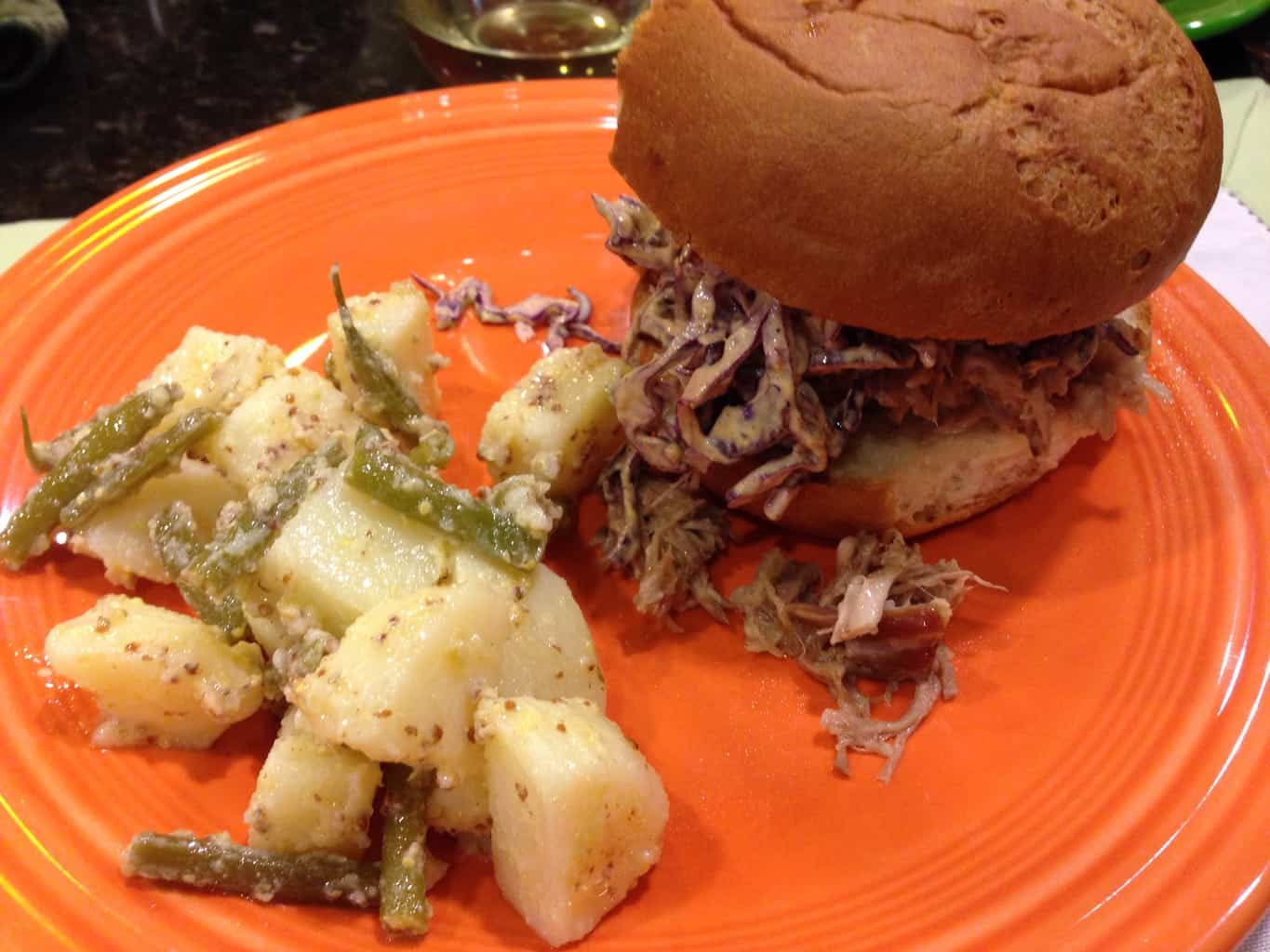 Pulled Pork with Dijon Cole Slaw and Potato Salad