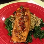 Miso-glazed salmon with rice and spinach