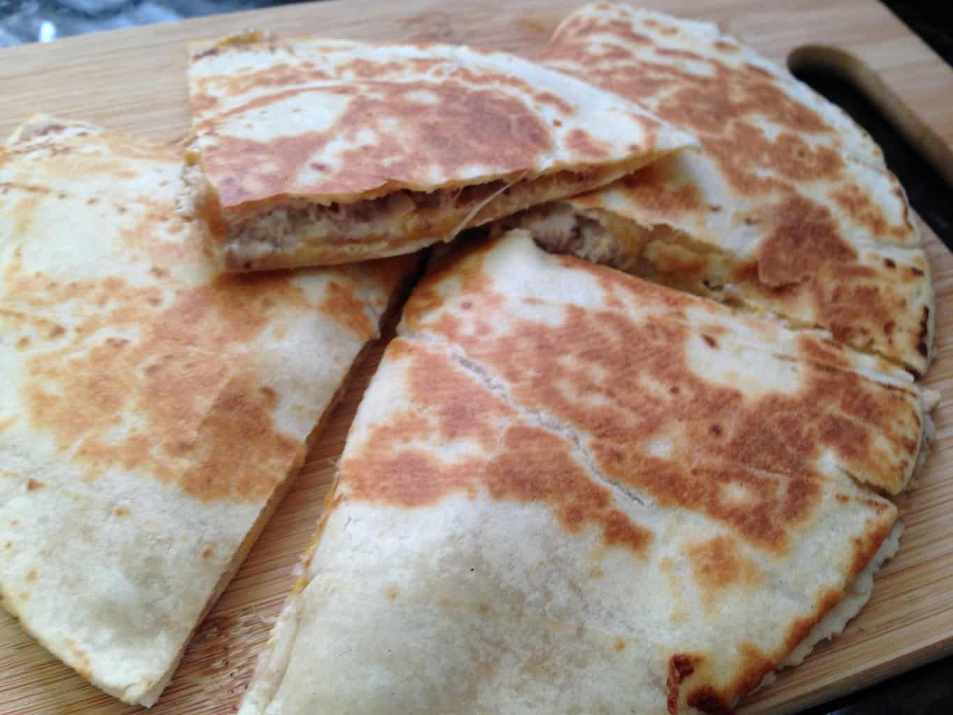 gluten-free quesadilla using mission soft taco tortilla
