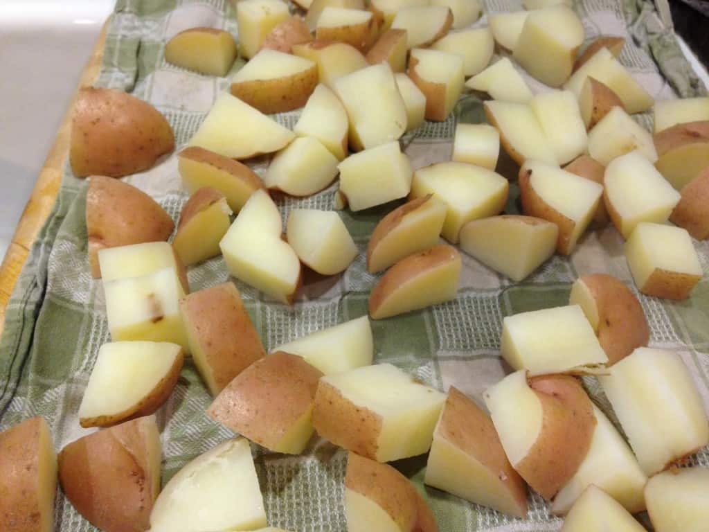 Potatoes ready for parboiling.