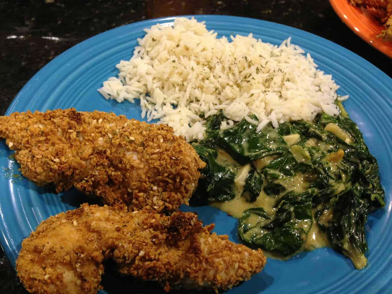 Gluten-Free Chicken Tenders with Mustard and Coconut Milk Creamed Spinach