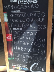 Sign Outside Bar Casi in Barcelona
