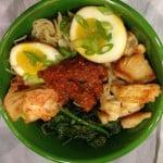 Gluten-free soy sauce eggs in a ramen bowl