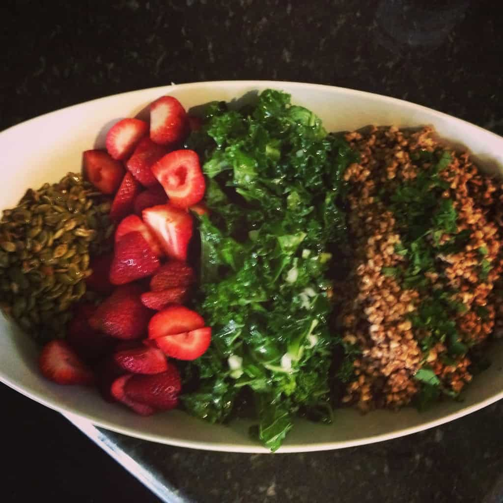 Strawberry, Kale, and Buckwheat Salad