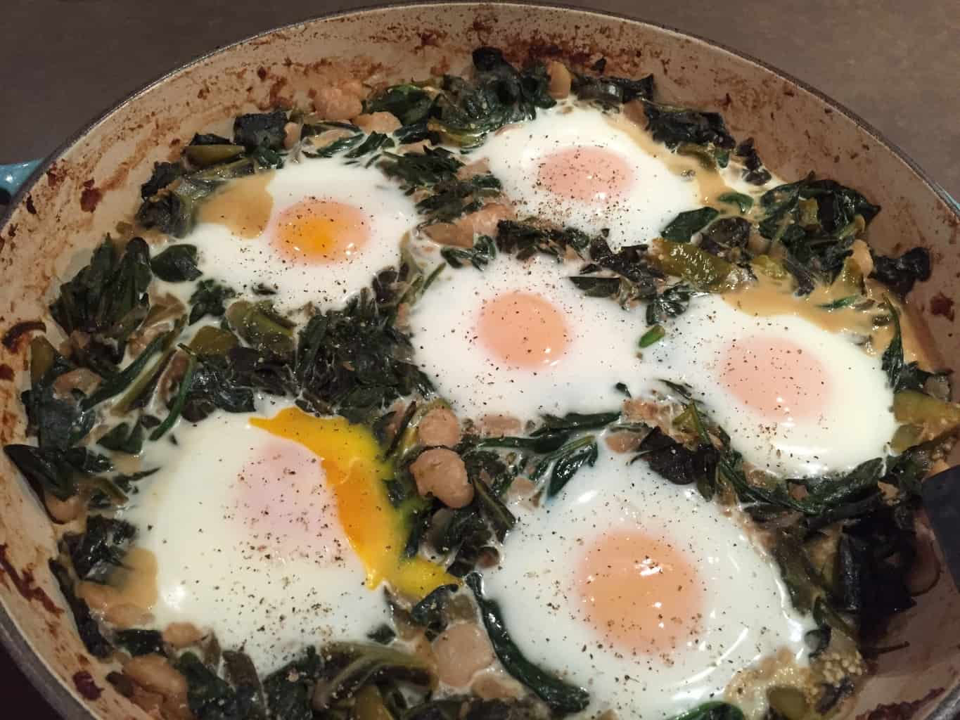Shakshuka-Style Greens and Eggs