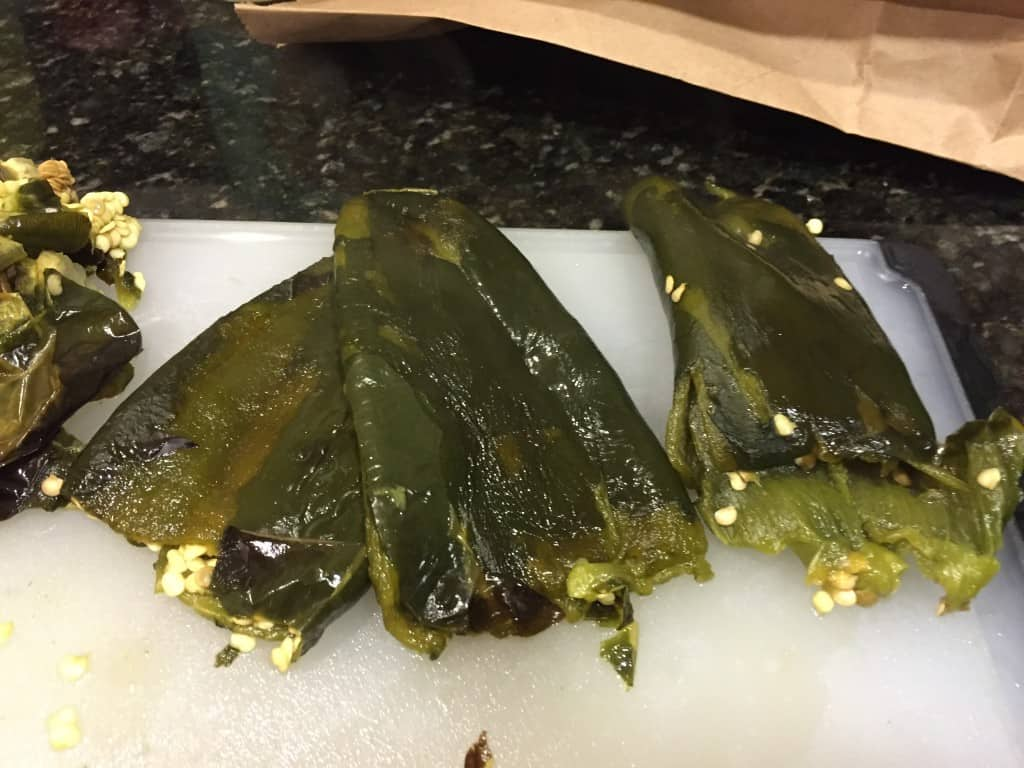 Roasted and Peeled Anaheim Peppers for Gluten-Free Chile Relleno