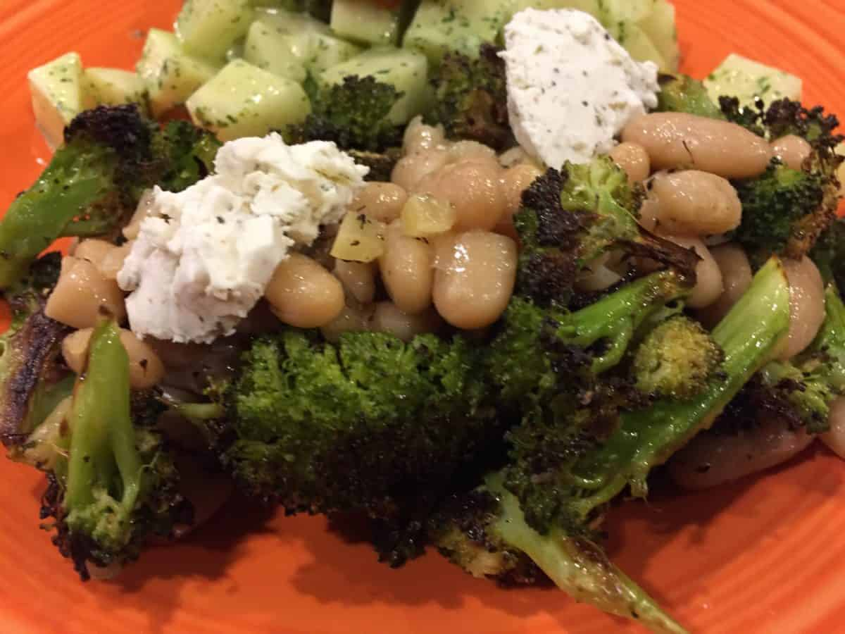 Broccoli and White Beans with Goat Cheese and Lemon Dressing
