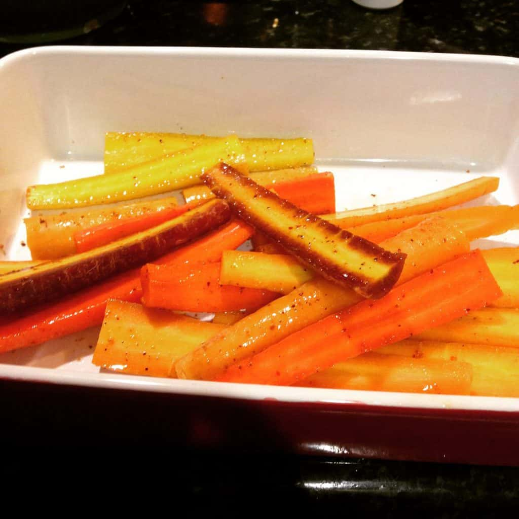 Carrots ready to roast