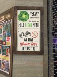 Gluten-free sign at Slice of Vegas in Mandalay Bay